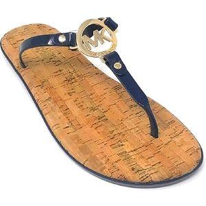 Michael Kors MK gold logo jelly thong sandal…